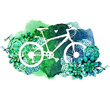 Bicycle with watercolor succulent design Photographic Print