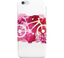 Bicycle with watercolor succulent design iPhone Case/Skin