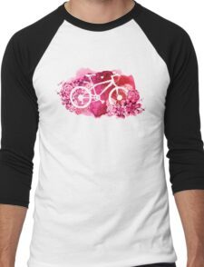 Bicycle with watercolor succulent design Men's Baseball ¾ T-Shirt