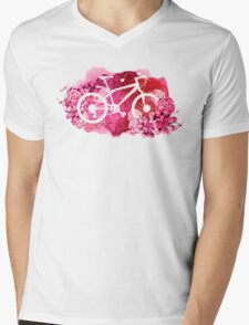 Bicycle with watercolor succulent design Mens V-Neck T-Shirt