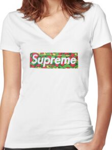 Supreme X Bape Psyche Camo Women's Fitted V-Neck T-Shirt