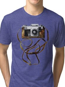 Watercolor vintage camera in leather case Tri-blend T-Shirt