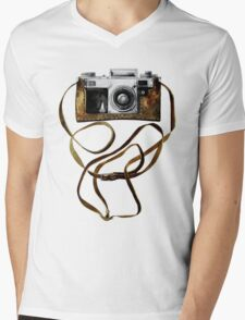 Watercolor vintage camera in leather case Mens V-Neck T-Shirt