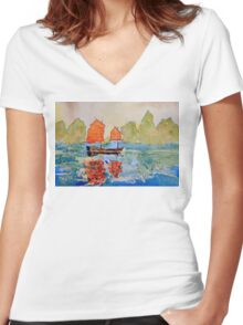 chinese landscape Women's Fitted V-Neck T-Shirt