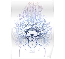 Graphic man in virtual reality glasses Poster