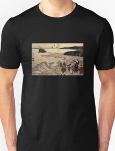 'Women on the Beach of Enoshima' by Katsushika Hokusai (Reproduction) Unisex T-Shirt