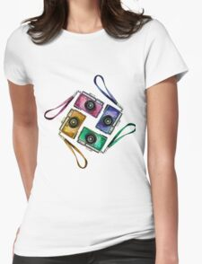 Multicolor vintage reflex cameras Womens Fitted T-Shirt
