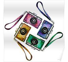 Multicolor vintage reflex cameras Poster