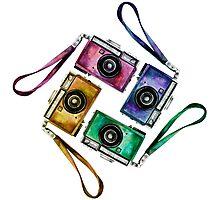 Multicolor vintage reflex cameras Photographic Print
