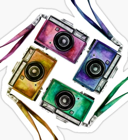 Multicolor vintage reflex cameras Sticker