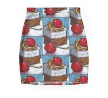 Cake with Red Cherries: Oil Pastel, Party, Celebration, Food Mini Skirt