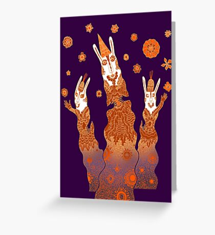 Psychedelic Rabbit Wizards  Greeting Card