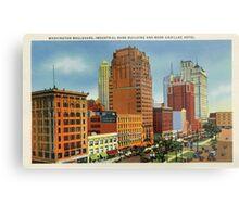 Retro Vintage Detroit Washington Boulevard, Bank Building, Cadillac Hotel Metal Print