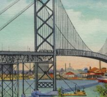 Retro vintage Ambassador Bridge Windsor Canada to Detroit USA Sticker