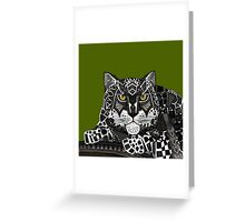 snow leopard green Greeting Card