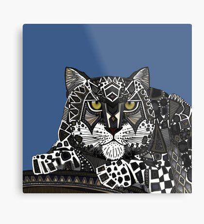 snow leopard blue Metal Print