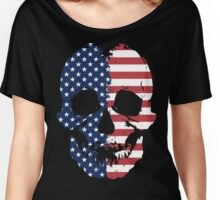 American Flag Skull  Women's Relaxed Fit T-Shirt