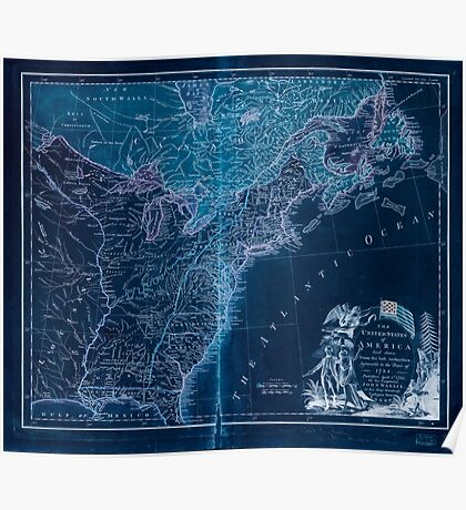 American Revolutionary War Era Maps 1750-1786 948 The United States of America laid down from the best authorities agreeable to the Peace of 1783 Inverted Poster