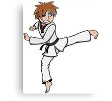 Taekwondo Mascot Kicking Canvas Print