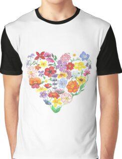 Flower Heart Graphic T-Shirt