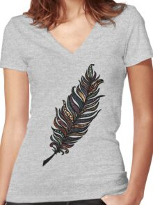 Whimsical Feather Women's Fitted V-Neck T-Shirt