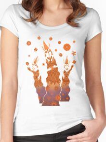 Psychedelic Rabbit Wizards  Women's Fitted Scoop T-Shirt