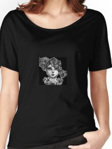 Black and White butterfly girl Women's Relaxed Fit T-Shirt