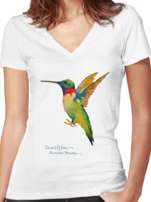 Ruby Throat Hummingbird by Daniel Adams Women's Fitted V-Neck T-Shirt