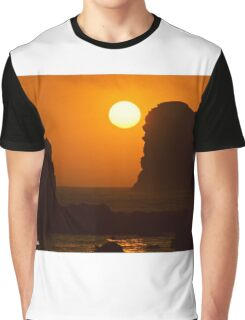 Sunset Over the Pacific Ocean with Rock Stacks Graphic T-Shirt
