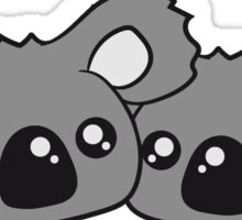 2 sweet little cute koalas team buddies faces head couple love love Sticker