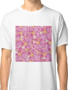 Girly Pretty Pink and Yellow Hand Painted Flowers Classic T-Shirt