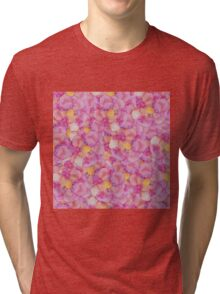 Girly Pretty Pink and Yellow Hand Painted Flowers Tri-blend T-Shirt