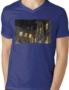 New York Night - Graceful Mansions Through the Naked Tree Branches Mens V-Neck T-Shirt