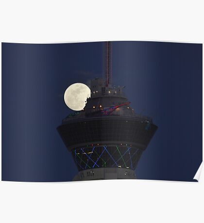 Full Moon & Stratosphere Tower Poster