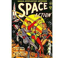 SPACE ACTION Comic Photographic Print