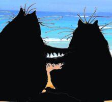 Happy Anniversary, two cats in silhouette,beach Sticker
