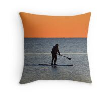 Standup Paddleboarding Across Nicoll Bay At Dawn | Great River, New York Throw Pillow