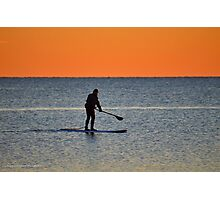 Standup Paddleboarding Across Nicoll Bay At Dawn | Great River, New York Photographic Print