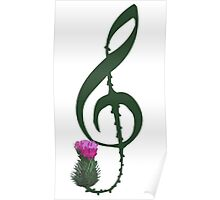 Treble Clef, thistle flower Poster