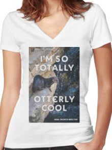 OTTERLY COOL - Animal Encounter World Tour Women's Fitted V-Neck T-Shirt