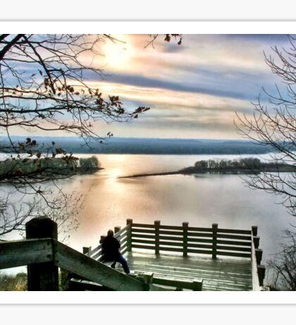 Sunset on the Mississippi (Eagle Lookout, Savanna IL) Sticker