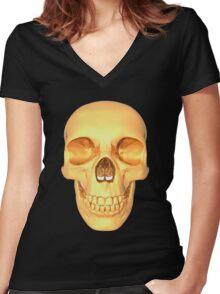 human skull gold Women's Fitted V-Neck T-Shirt
