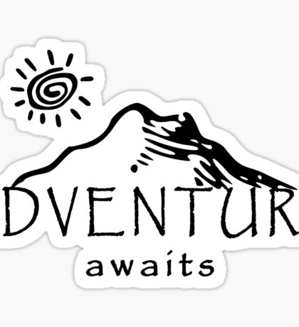 Adventure Awaits - Mountain and Sun ( Dark Version)  Sticker