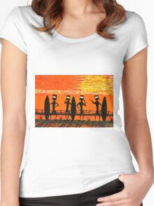 """Ned Kelly Gang's Surf Safari"" Original Australian Acrylic Painting SOLD Women's Fitted Scoop T-Shirt"