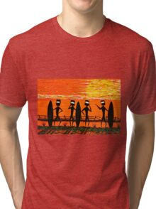 """Ned Kelly Gang's Surf Safari"" Original Australian Acrylic Painting SOLD Tri-blend T-Shirt"