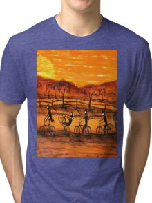 """Ned Kelly Gang Easy Riders"" Original Australian Acrylic Painting;  SOLD Tri-blend T-Shirt"