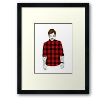 Hipster Ron Swanson (Flannel)  Framed Print