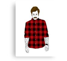 Hipster Ron Swanson (Flannel)  Canvas Print