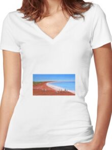 """ Broome Red"" Original Acrylic Painting Australia; SOLD Women's Fitted V-Neck T-Shirt"