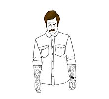Hipster Ron Swanson (Clear) Photographic Print